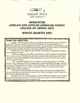 African and African American Studies Newsletter, Winter Quarter 2003