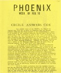 Wright State University Alternative Newspaper: Phoenix, Week of Feb. 10, 1969 by Wright State University Student Body