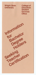 Information for Bachelor Degree Holders Seeking Teacher Information