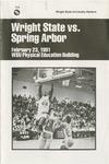 Wright State University Vs Spring Arbor University Basketball Program 1981 by Wright State University