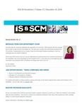ISSCM Newsletter, Volume 15, December 20, 2016 by Raj Soin College of Business, Wright State University