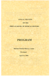 Ohio Academy of Medical History Annual Meeting Program, April 16, 2005