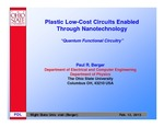 Plastic Low-Cost Circuits Enabled Through Nanotechnology by Paul R. Berger