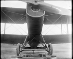 De Havilland DH-4 showing the bottom of the fuselage and landing gear at the Dayton-Wright Airplane Company
