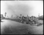De Havilland DH-4s lined up outside of a factory of the Dayton-Wright Airplane Company