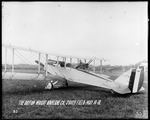 Howard Rinehart piloting a De Havilland DH-4 with military weapons and equipment at the Dayton-Wright Airplane Company South Field May 14, 1918