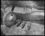 Mark V release mechanism and Mark III high explosive bombs on a De Havilland DH-4 at the Dayton-Wright Airplane Company South Field April 15, 1918