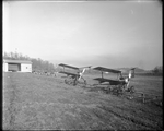Two Kettering Bugs on a rail track ready for launch at the Dayton-Wright Airplane Company