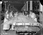 Female employees of the Dayton-Wright Airplane Company working on the skeleton of an aircraft wing at Plant 1 February 23, 1918