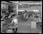 Employees of the Dayton-Wright Airplane Company work on manufacturing wooden parts for aircraft production