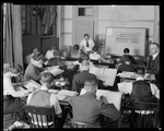 Employees of the Dayton-Wright Airplane Company in a classroom setting