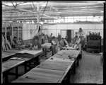 Dayton-Wright Airplane Company employees laminate wood for the production of aircraft
