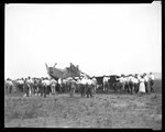 Employees of the Dayton-Wright Airplane Company gather around a Junkers-Larsen JL-6 airplane at McCook Field by The Dayton-Wright Airplane Company