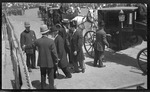 Bishop Milton Wright and Orville Wright arriving for the 1909 Wright Brothers Homecoming Celebration medals ceremony