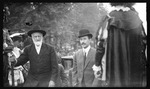 Bishop Milton Wright and Orville Wright arriving at the opening ceremonies during the 1909 Wright Brothers Homecoming Celebration by Andrew S. Iddings