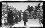 Bishop Milton Wright delivering the invocation during the 1909 Wright Brothers Homecoming Celebration medals ceremony