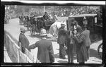 Orville and Bishop Milton Wright arriving for the 1909 Wright Brothers Homecoming Celebration medals ceremony