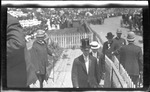Wilbur Wright arriving for the 1909 Wright Brothers Homecoming Celebration medals ceremony