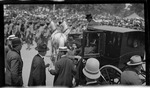 Orville Wright entering a horse drawn carriage during the 1909 Wright Brothers Homecoming Celebration medals ceremony