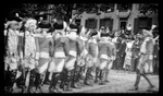Patterson School boys dressed as colonial soldiers, standing at attention during the 1909 Wright Brothers Homecoming Celebration opening ceremonies