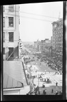 An elevated view of South Main Street at the 1909 Wright Brothers Homecoming Celebration in Dayton