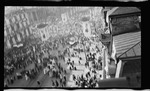 An elevated view of the crowd during the parade during the 1909 Wright Brothers Homecoming Celebration