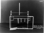Reproduction of the Wright's 1901 wind tunnel lift balance showing airfoil