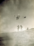 Orville Wright gliding from Big Kill Devil Hill in Wright 1911 glider