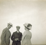 Orville and Wilbur Wright in conversation with a woman