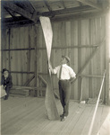 Crane holding a propeller