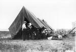 Newspaper reporters' tent