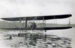 Wright Model B Flyer floatplane floating in lake