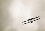 Rear view of Wright Model F Flyer in flight