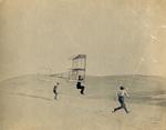 Augustus Herring piloting Chanute-Herring multiwing glider at Little Kill Devil Hill