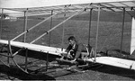 A.R. Weyl in Zander and Weyl's movie replica of the Wright 1902 glider