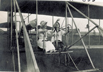 Mrs. Whiting and Marjorie Stinson seated in Wright Model B Flyer