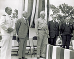 Orville Wright with speakers for dedication ceremony