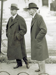 Orville Wright and Henry Ford outside former Wright home by M. E. Fawcett