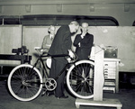 Examining a St. Clair bicycle built by the Wright Brothers