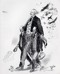 Orville and Wilbur Wright walking with Uncle Sam