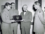 Orville Wright receives plaque from General Craigie