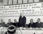 Edward A. Deeds stands to speak at Dayton YMCA dinner