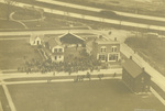 Aerial view of dedication ceremony at Greenfield Village