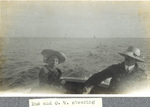 Horace and Orville Wright in a boat