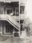 The Wright Brothers and Bollee family on the balcony of the Bollee home