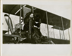 Elfreda Korn at the Controls of a Farman Biplane, circa 1911