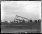 Crash of Claude Grahame-White's Farman biplane at the Harvard-Boston Aero Meet, September, 1910