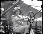 Mabel Hall Ely sitting at the controls of a Curtiss aircraft at the Harvard-Boston Aero Meet, August - September, 1911