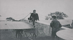 Claude Grahame-White exiting a Nieuport monoplane at the Harvard-Boston Aero Meet, August - September, 1911