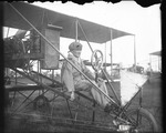 Lincoln Beachey at the controls of a Curtiss aircraft at the Harvard-Boston Aero Meet, August - September, 1911
